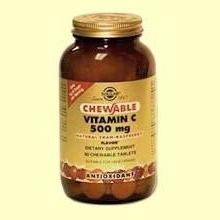 Vitamina C 500 mg - 90 comprimidos - Sabor a frambuesa - Solgar