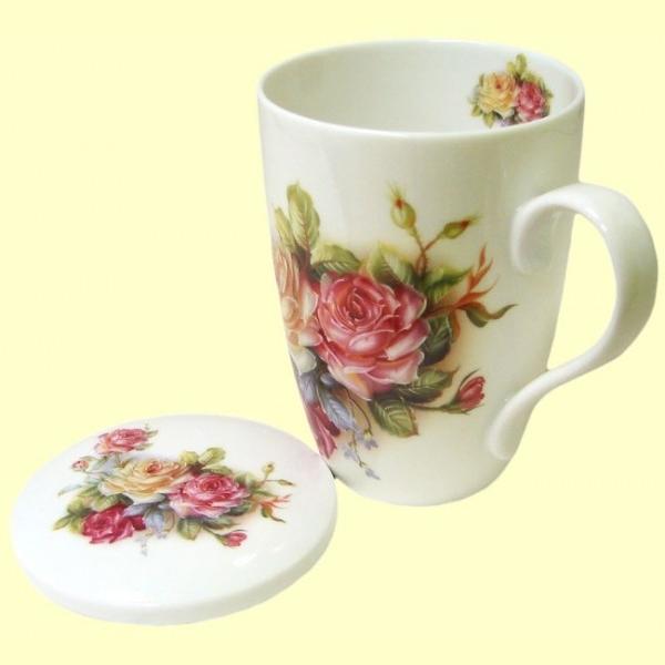 Taza para t con tapa blanca motivos florales 33 ml for Tazas de te con tapa