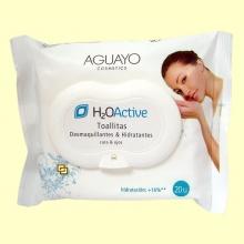 Toallitas desmaquillantes H2O Active - 20 toallitas - Aguayo Cosmetics