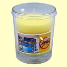 Vela en vaso cristal de citronela - 12 cm - Aromalia