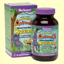 Super Earth Rainforest Animalz Multiple - 90 comprimidos masticables - Bluebonnet