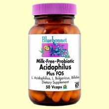 Milk Free Acidophilus Plus Fos - 50 cápsulas - Bluebonnet