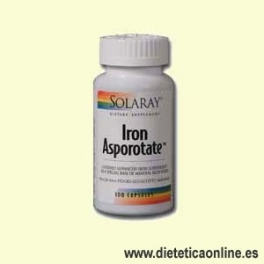 Iron Asporotate 100 cápsulas de Solaray