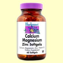 Calcio Magnesio Zinc con Vitamina D3 - 60 cápsulas blandas - Bluebonnet