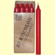 Velas Bujía - Gies - Velas de colores - Color Rojo - 12 velas