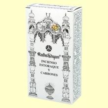 Incienso Estoraque y Carbones - 50 g + 10 uds - Radhe Shyam