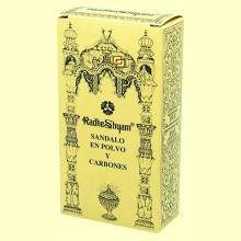 Incienso Sándalo en polvo y Carbones - 50 g + 10 uds - Radhe Shyam