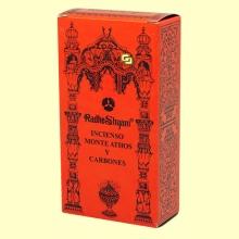 Incienso Monte Athos y Carbones - 50 g + 10 uds - Radhe Shyam