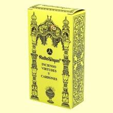 Incienso Virtudes y Carbones - 50 g + 10 uds - Radhe Shyam