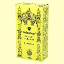 Incienso Olibanum y Carbones - 50 g + 10 uds - Radhe Shyam