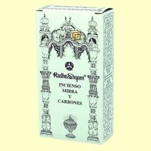 Incienso Mirra y Carbones - 50 g + 10 uds - Radhe Shyam