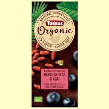 Chocolate negro Eco con bayas de goji y açaí en polvo - Torras - 100 gramos