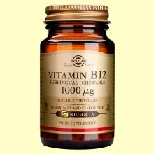 Vitamina B12 1000 ug - Cobalamina - 100 comprimidos masticables - Solgar