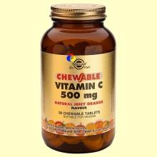Vitamina C 500 mg - 90 comprimidos - Sabor a naranja - Solgar