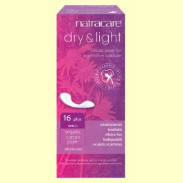 Compresas Dry&Light Bio - Incontinencia Plus - 16 unidades - Natracare