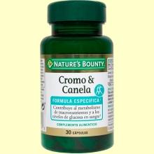 Cromo & canela - 30 cápsulas - Nature's Bounty