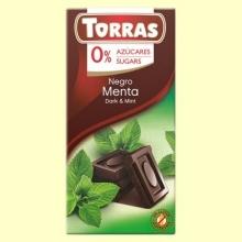 Chocolate Negro con Menta 52% Cacao - 0% Azúcar - 75 gramos - Torras