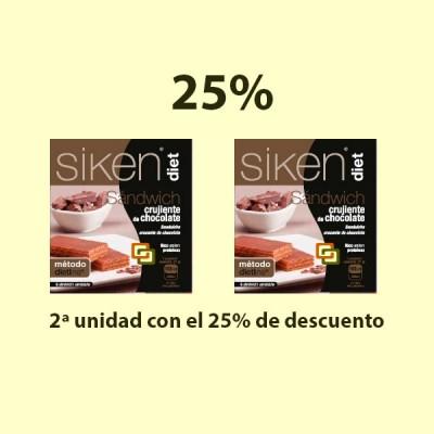 Sándwich crujiente de chocolate - 2 x 6 unidades - Siken Diet - 25% Dto. 2ª Unidad