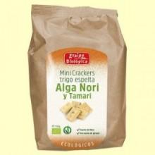 Minicrackers Trigo Espelta Alga Nori y Tamari Eco - 150 gramos - Espiga Biológica
