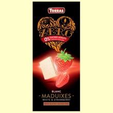 Chocolate Blanco con Fresas Zero - 125 gramos - Torras