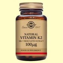 Vitamina K2 (Menaquinona-7) 100 ug - Solgar - 50 cápsulas vegetales