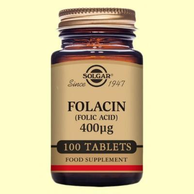 Folacín (Ácido fólico) 400 ug - Vitamina B9 - Solgar - 100 comp