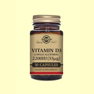 Vitamina D3 2200 UI (55 μg) (Colecalciferol) - 50 Cápsulas - Solgar