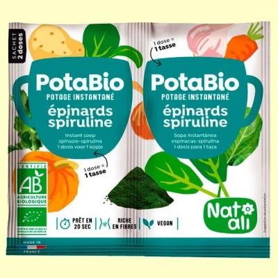 Potabio Espinacas y Spirulina Bio - Caldos y potajes - 2 x 8,5 gramos - Nat Ali