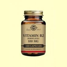 Vitamina B2 Riboflavina 100mg - 100 cápsulas - Solgar