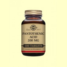 Ácido Pantotéico 200 mg - Vitamina B5 - Solgar - 100 comp.