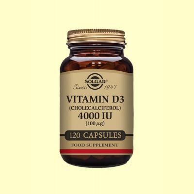 Vitamina D3 Colecalciferol 4000 UI (100µg) - 120 cápsulas - Solgar