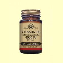 Vitamina D3 Colecalciferol 4000 UI (100µg) - 60 cápsulas - Solgar