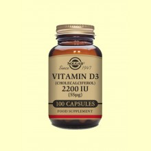 Vitamina D3 2200 UI - 100 cápsulas - Solgar