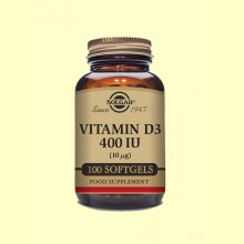 Vitamina D3 400 UI - 100 cápsulas blandas - Solgar