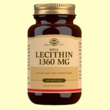 Lecitina de Soja 1360 mg - 100 cápsulas blandas - Solgar