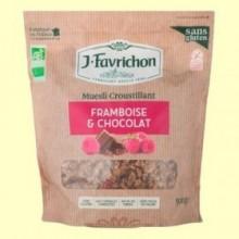 Muesli Crunchy Frambuesa y Chocolate Bio - 500 gramos - Favrichon