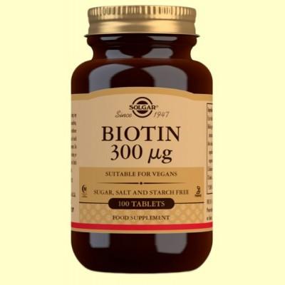Biotina 300mcg - Vitamina B - 100 comprimidos - Solgar