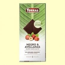 Chocolate Stevia Negro con Avellanas - 125 gramos - Torras