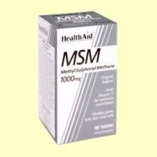 MSM 1000 mg - Rico en Azufre con Vitamina C - 90 comprimidos - Health Aid