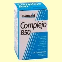 Complejo B50 - Con Vitamina C + Hierro - 30 comprimidos - Health Aid