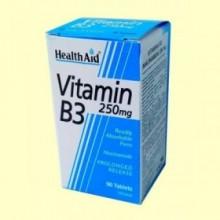 Vitamina B3 - Niacinamida 250 mg - 90 comprimidos - Health Aid