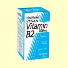 Vitamina B2 - Riboflavina 100 mg - 60 comprimidos - Health Aid