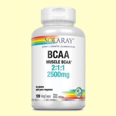 BCAA 2500 mg - Aminoácidos - 120 cápsulas - Solaray