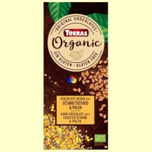 Chocolate negro Eco con sésamo tostado y polen Eco - 100 gramos - Torras