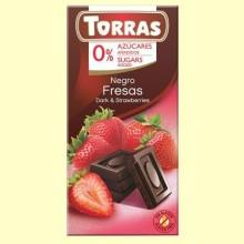 Chocolate Negro con Fresa sin Azúcar - 75 gramos - Torras