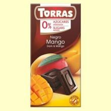 Chocolate Negro con Mango sin Azúcar - 75 gramos - Torras