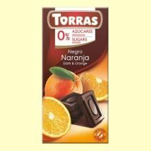 Chocolate Negro con Naranja sin Azúcar - 75 gramos - Torras