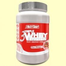 Triple Whey Protein Fresa - 1 kg - Nutrisport