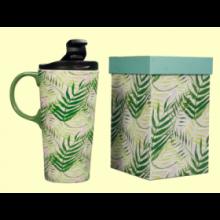 Taza para llevar Tropical de cerámica con tapa - 400 ml - Cha Cult
