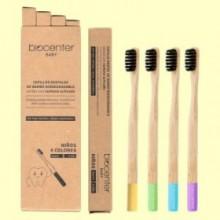 Pack de Cepillos de Dientes Infantiles de Bambú - 4 unidades - Biocenter